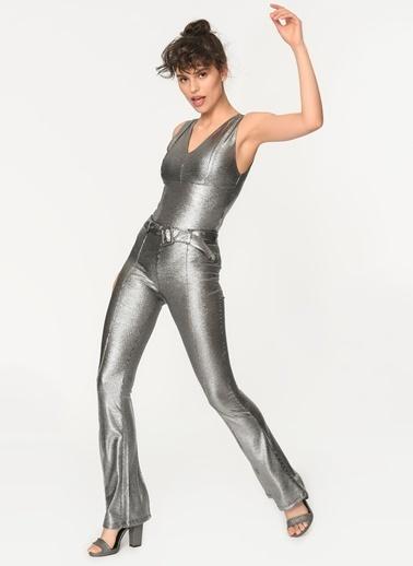 Loves You İspanyol Paça Varak Simli Pantolon Gümüş